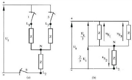 different potentials in inverter when thyristors 1,3 are closed